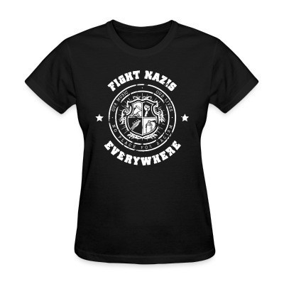 Camiseta Mujer Fight nazis everywhere - our music, our lives - no place for racism