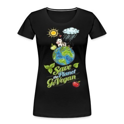 Camiseta Organica Mujer  Save the planet go vegan